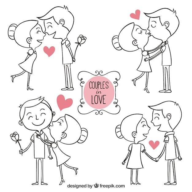Hand getrokken paren in liefde Gratis Vector