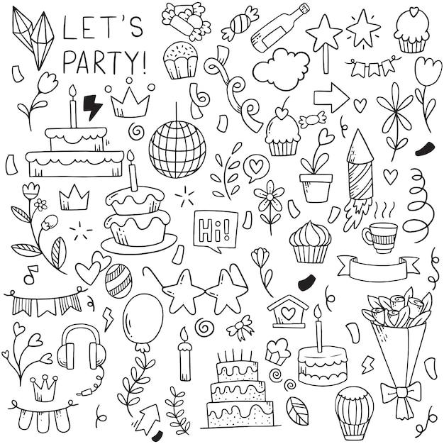 Hand getrokken partij doodle gelukkige verjaardag ornamenten achtergrond patroon Premium Vector