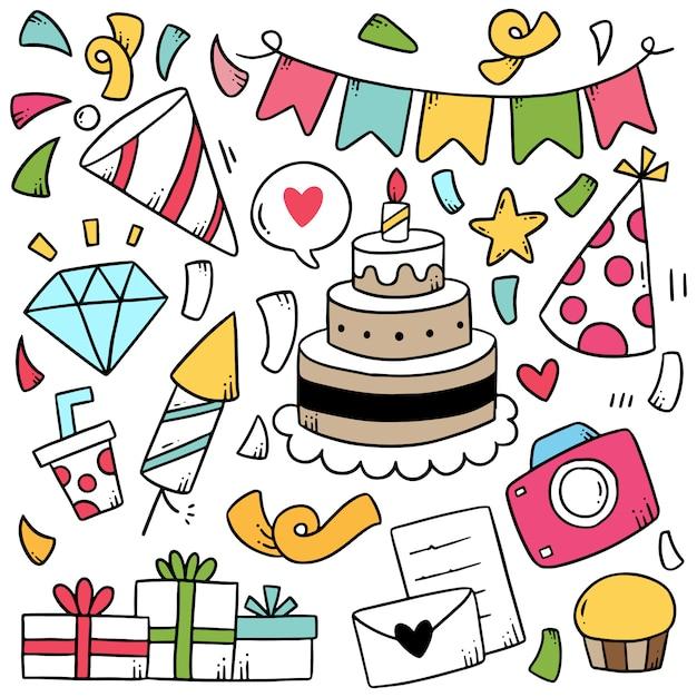 Hand getrokken partij doodle gelukkige verjaardag ornamenten Premium Vector