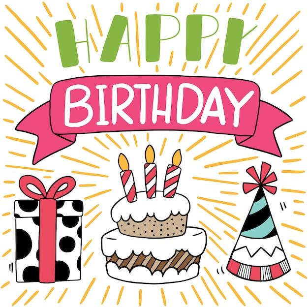 Hand getrokken partij doodle gelukkige verjaardagskaart Premium Vector