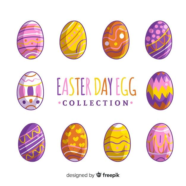 Hand getrokken Pasen-dag ei-collectie Gratis Vector