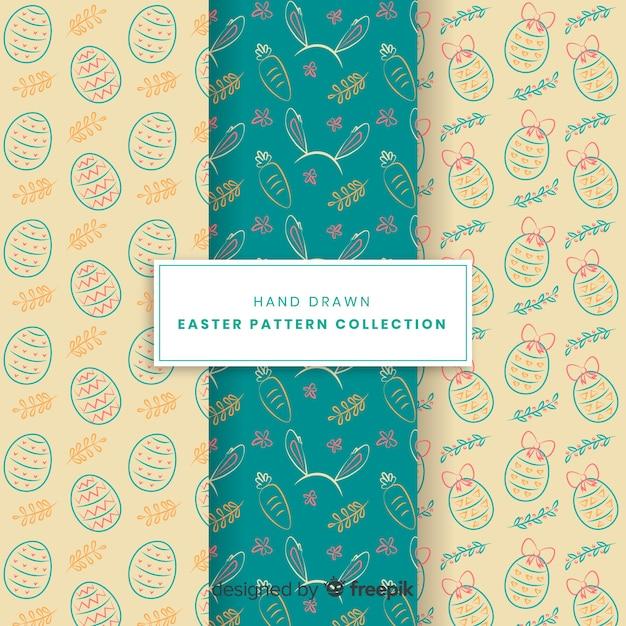 Hand getrokken pasen-patrooninzameling Gratis Vector