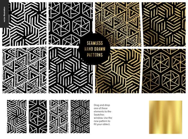 Hand getrokken patronen zwart Premium Vector