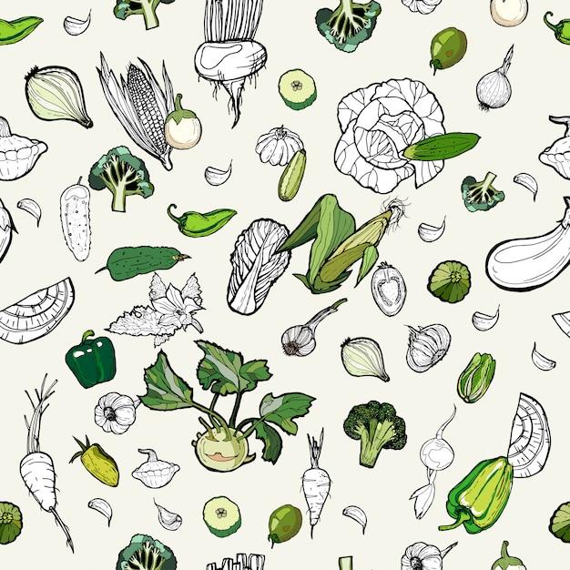 Hand getrokken patroon groenten. Premium Vector