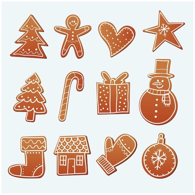 Hand getrokken peperkoekkoekjes van kerstmis Premium Vector