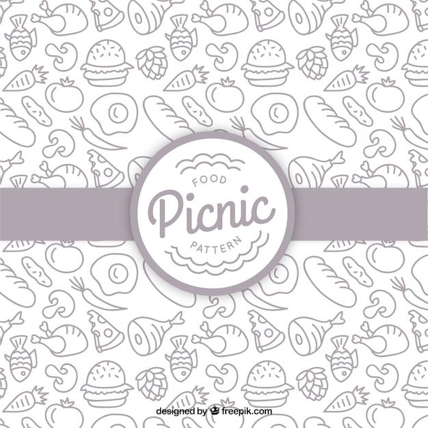 Hand getrokken picknick voedingspatroon Gratis Vector