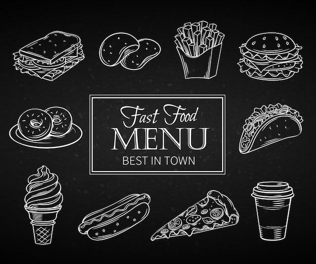 Hand getrokken pictogrammen fastfood. Premium Vector