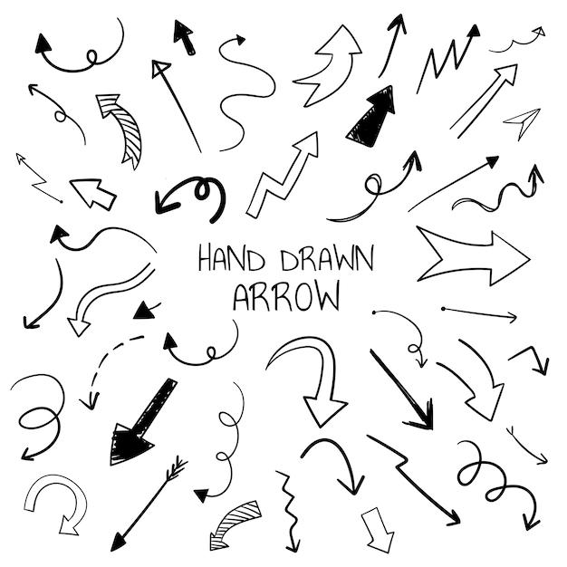 Hand getrokken pijl illustratie collectie Gratis Vector