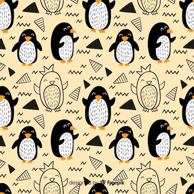 Hand getrokken pinguïn doodle patroon Premium Vector