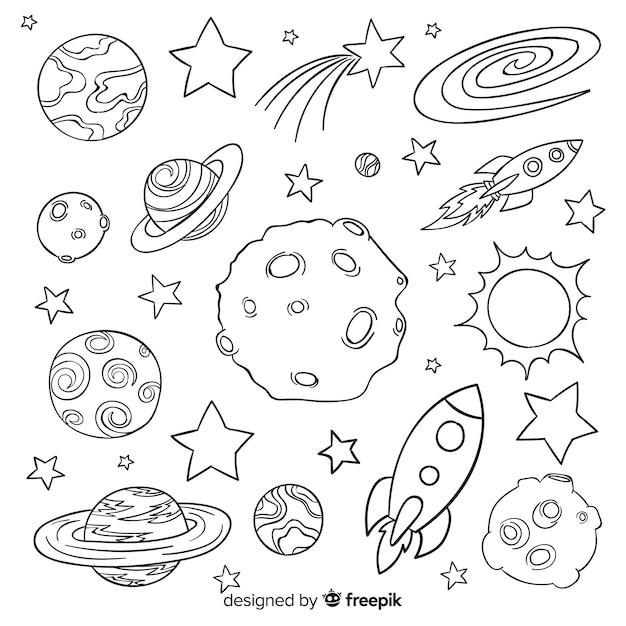 Hand getrokken planeet collectie in doodle stijl Gratis Vector