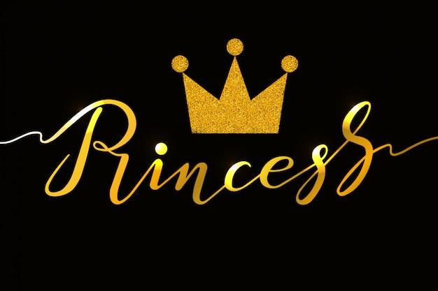 Hand getrokken prinses typografie belettering van ontwerp Premium Vector