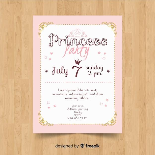 Hand getrokken prinses uitnodiging voor feest Gratis Vector
