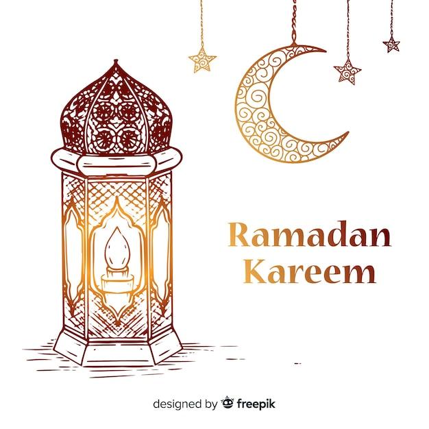 Hand getrokken ramadan achtergrond Gratis Vector