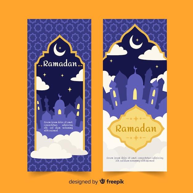 Hand getrokken ramadan banners Gratis Vector