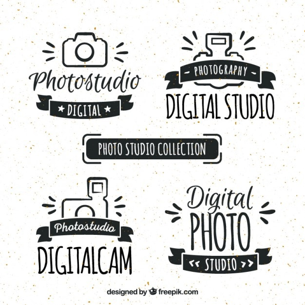 Hand getrokken retro fotostudio logos Gratis Vector