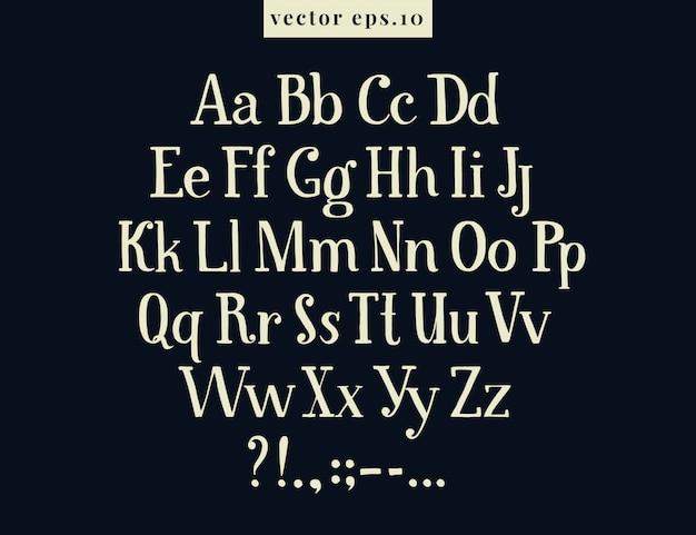 Hand getrokken retro vectorbrieven. het antieke alfabet van de tekening op schoolbord. Premium Vector