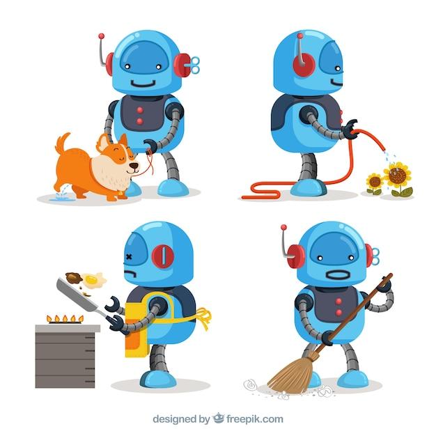 Hand getrokken robot karakter collectie Gratis Vector