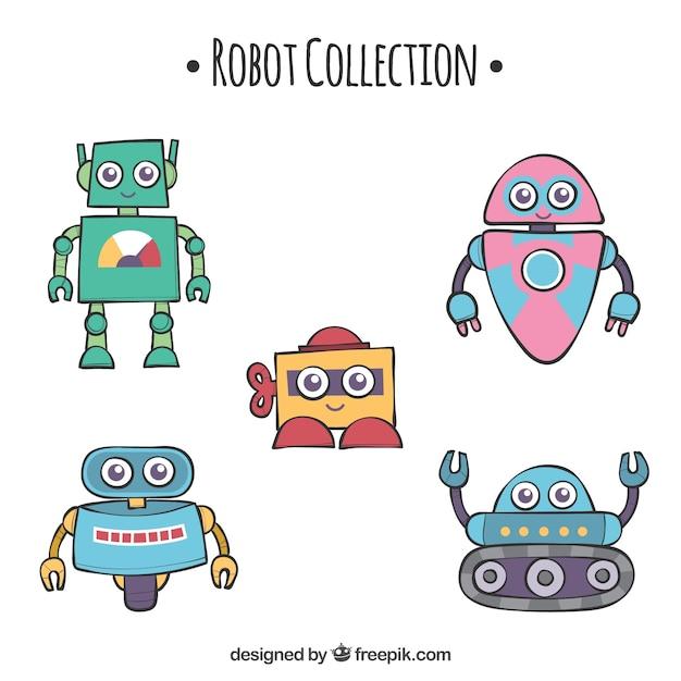 Hand getrokken robotscollectie met verschillende poses Gratis Vector