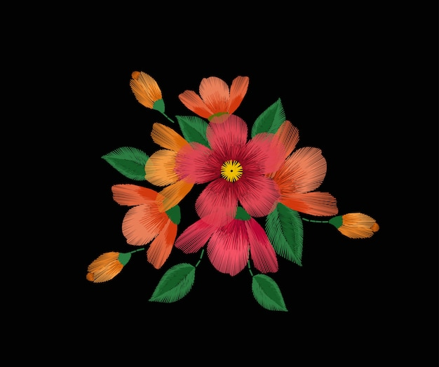 Hand getrokken rode bloemen op zwarte achtergrond Premium Vector