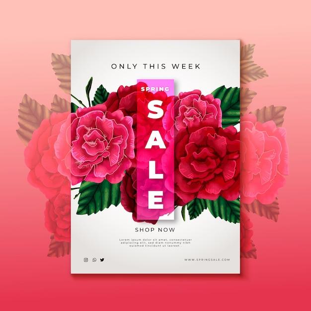 Hand getrokken roze bloemen verkoop folder sjabloon Gratis Vector