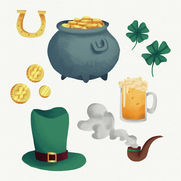 Hand getrokken saint patrick's day element collectie Gratis Vector
