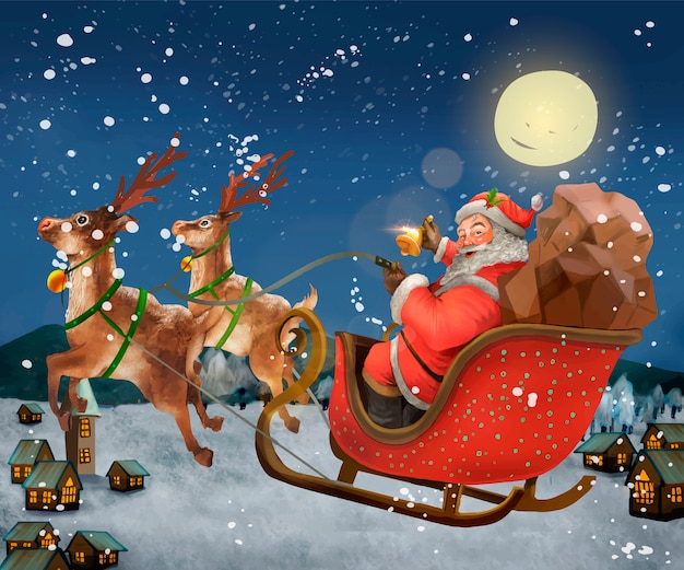 Hand getrokken santa claus rijden op een slee leveren presenteert Gratis Vector