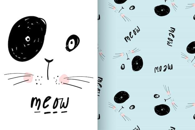 Hand getrokken schattig kat met patroon vector set Premium Vector