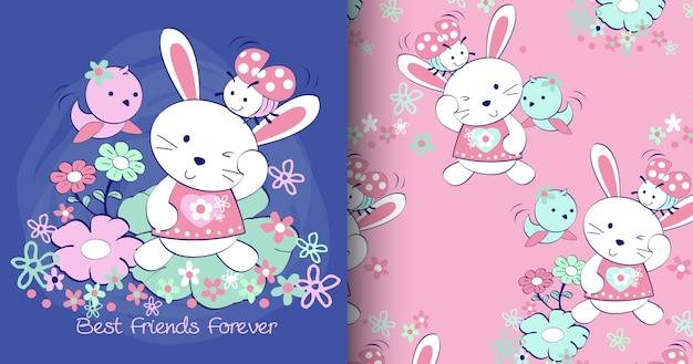 Hand getrokken schattig konijn patroon set Premium Vector