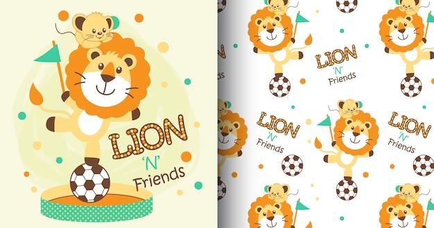 Hand getrokken schattig leeuwen patroon en kaart Premium Vector
