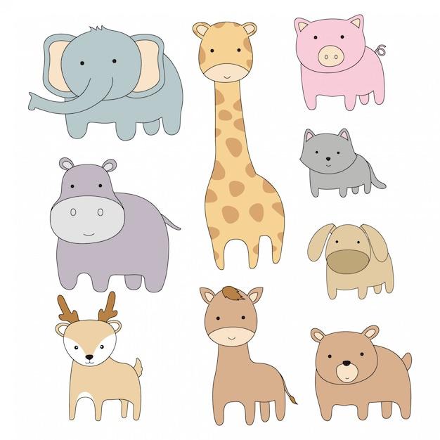Hand getrokken schattige dieren cartoon platte ontwerp Premium Vector