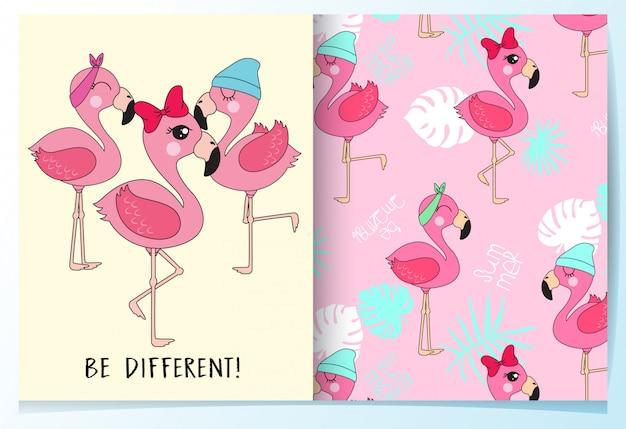 Hand getrokken schattige flamingo patroon set Premium Vector