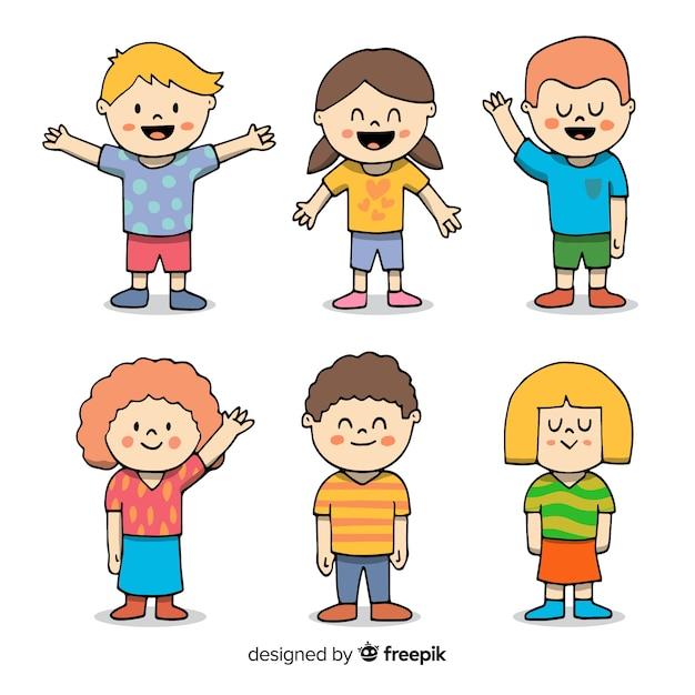Hand getrokken schattige kinderen karakter collectie Gratis Vector