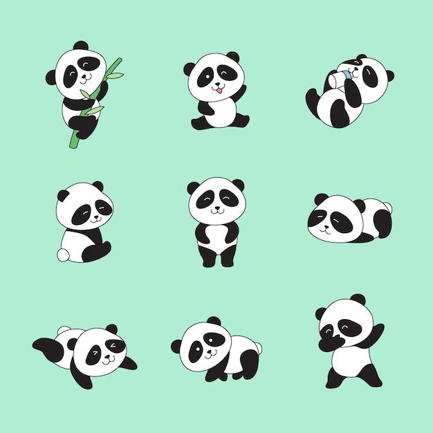 Hand getrokken schattige panda's Premium Vector