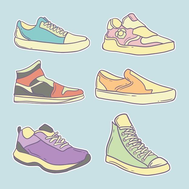 Hand getrokken schattige schoenen collectie illustratie premium Premium Vector