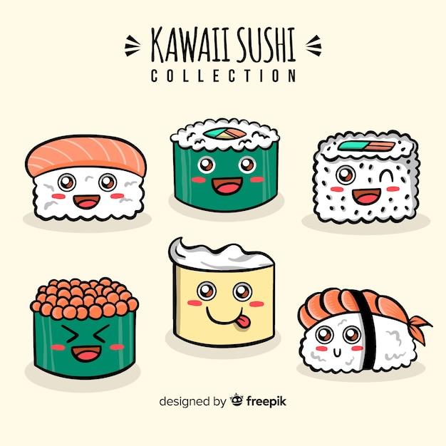 Hand getrokken schattige sushi-collectie Gratis Vector