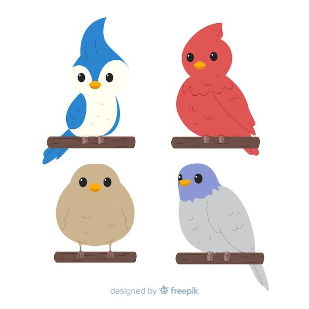 Hand getrokken schattige vogel collectie Gratis Vector
