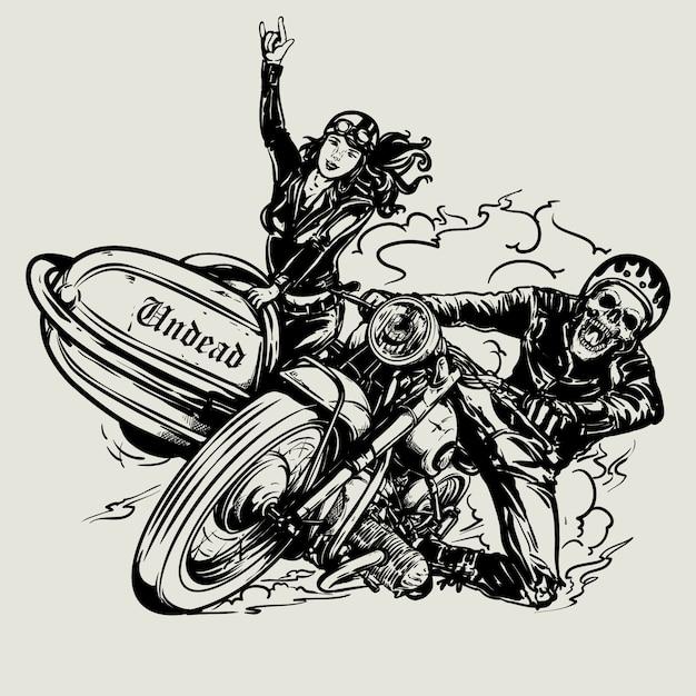 Hand getrokken schedel fietser vintage motorfiets rijden Premium Vector