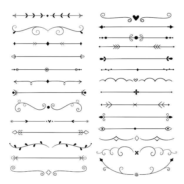 Hand getrokken scheidingslijnen. lijn design elementen vintage randen. kalligrafische sierlijke decoratie. retro scheidingslijn, separator vector set Premium Vector