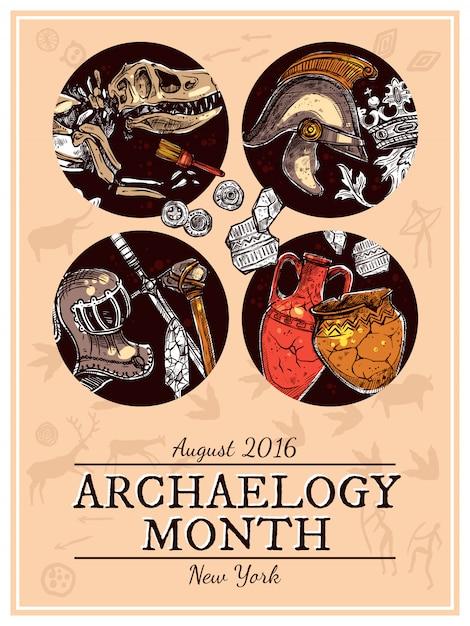 Hand getrokken schets archeologie illustratie Gratis Vector