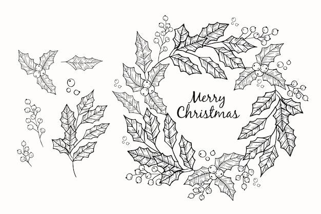 Hand getrokken schets de kroon van kerstmis Gratis Vector