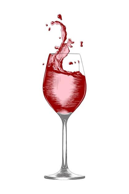 Hand getrokken schets een glas wijn met spatten Premium Vector