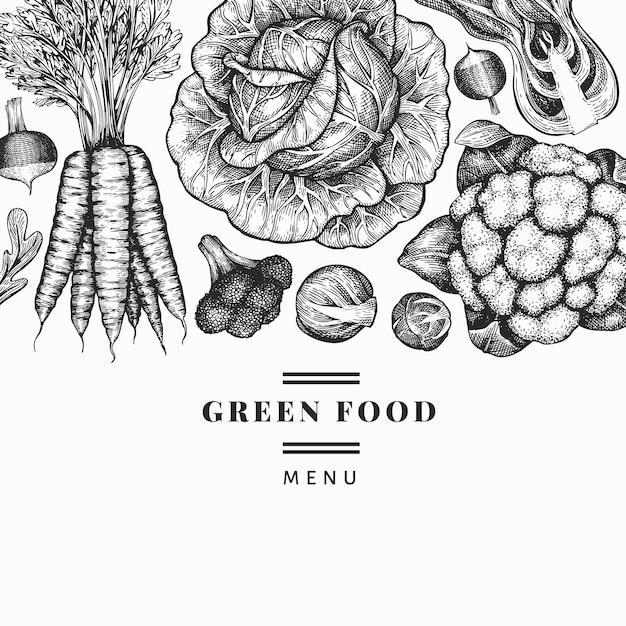 Hand getrokken schets groenten ontwerp. sjabloon voor spandoek van biologisch vers voedsel vector. vintage plantaardige achtergrond. gegraveerde stijl botanische illustraties. Premium Vector
