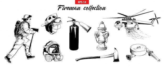 Hand getrokken schets set brandweerlieden onsjects Premium Vector