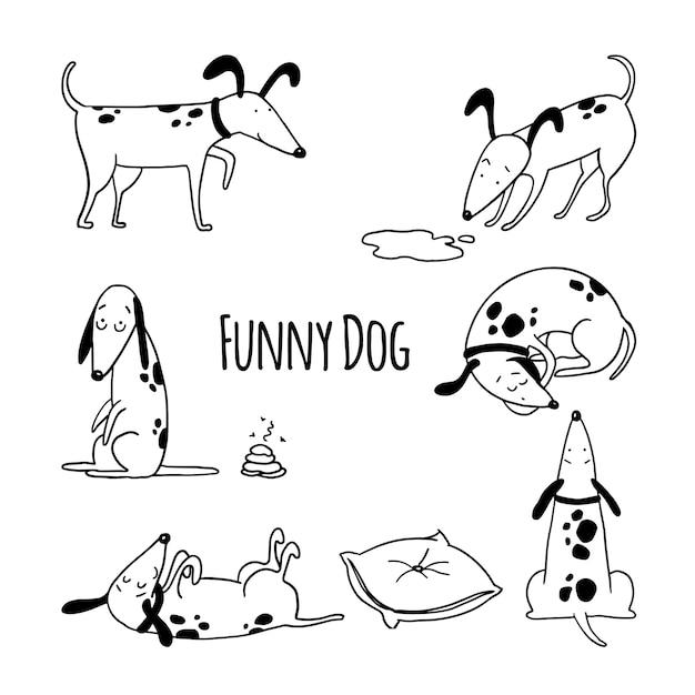 Hand getrokken schets set grappige honden Premium Vector