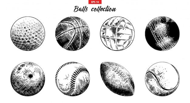 Hand getrokken schets set sport ballen Premium Vector