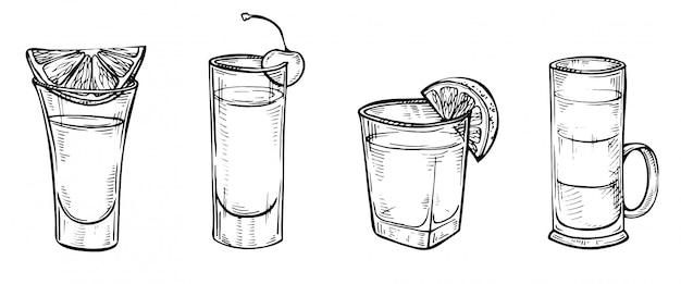 Hand getrokken schets set van alcoholische cocktails. Premium Vector