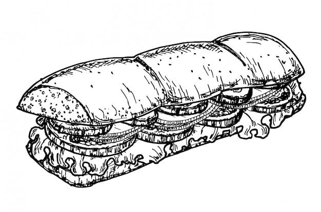 Hand getrokken schets steak subsandwich Premium Vector