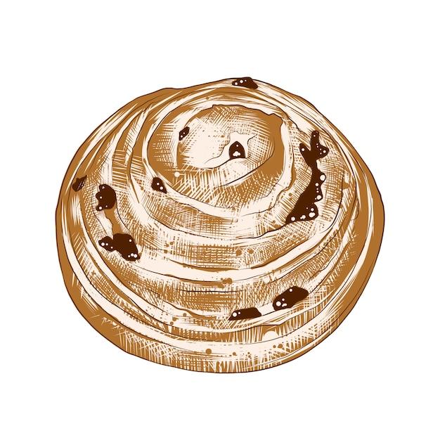 Hand getrokken schets van broodje met rozijnen Premium Vector