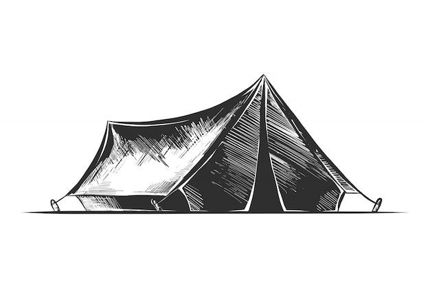 Hand getrokken schets van camping tent in zwart-wit Premium Vector