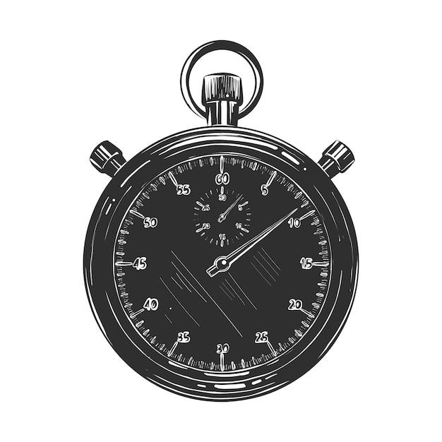 Hand getrokken schets van chronometer in zwart-wit Premium Vector